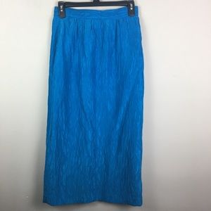 Vintage blue silk textured midi skirt